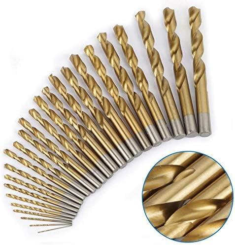 Color : Gold High Speed Steel Twist Drill Bits Set 25pcs Straight Shank Twist Drill Bits Tools 1mm-13mm