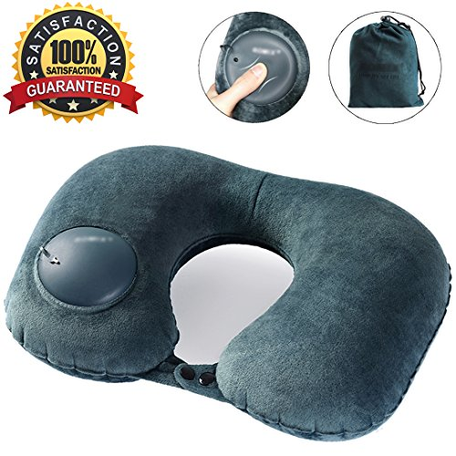 Travel Pillow, Self Inflatable Neck Pillow with Built In Air Bump, Comfortable Washable Soft Velvet Cover, Compact Packsack Lightweight Airplane Pillow for Office, Cars, Trains, Buses, Home Rest (Velvet Compact)