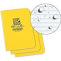 "Rite in the Rain Weatherproof Mini Stapled Notebook, 3.25"" x 4.625"", Yellow Cover, Universal Pattern, 3 Pack (No. 371FX-M)"
