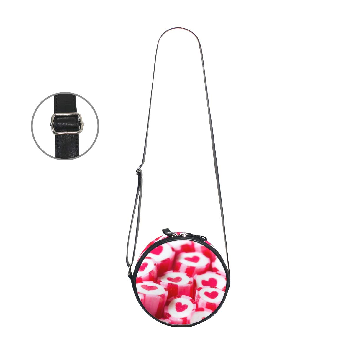 Lovely Heart Candy Canes Super Cute Design Small Canvas Messenger Bags Shoulder Bag Round Crossbody Bags Purses for Little Girls Gifts
