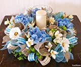 Spring Candle Wreath Ring, Blue Candle Ring, Blue Hydrangea Wreath, Easter Centerpiece