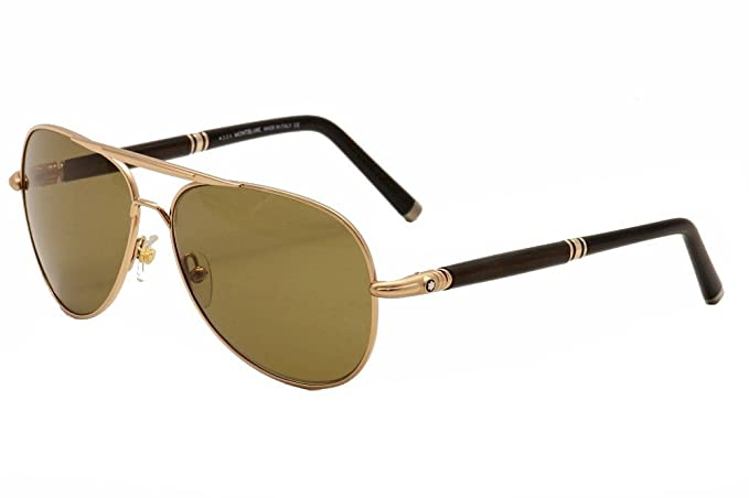 b4ec1163ea Image Unavailable. Image not available for. Colour  Mont Blanc 519S 519 S  28M Gold Brown Black Polarized Aviator Sunglasses 61mm