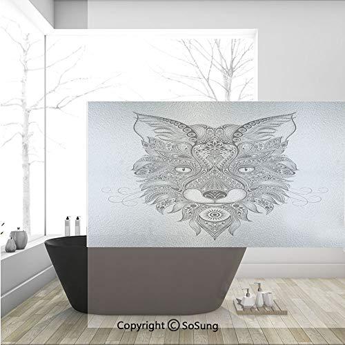3D Decorative Privacy Window Films,Sharp Eyed Fox Head