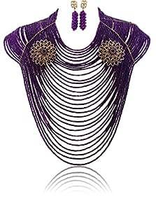 30capas Chunky Nigerianos joya de la boda Big Full cuentas Disfraz Mujer Purple African novia joyería conjuntos
