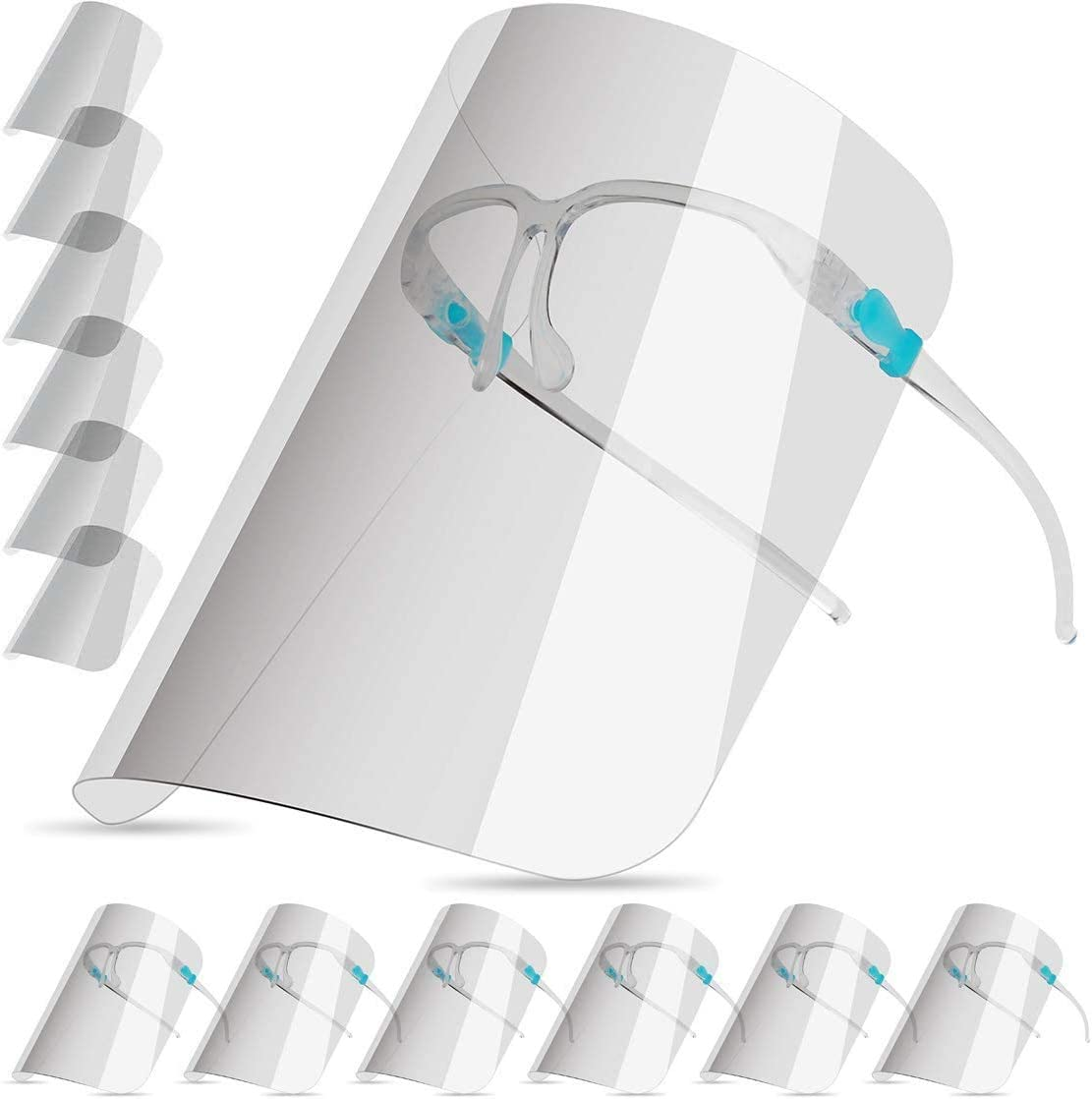 salipt Face Shields Set with 12 Replaceable Clear Films and 6 Acrylic Glasses Reusable and Cleanable for Women /& Men