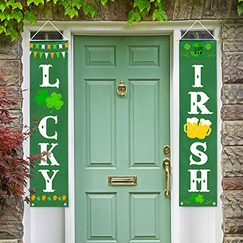 Whaline St. Patrick's Day Banner Decor, Lucky and Irish Hanging Porch Sign St. Patricks Decoration for Home Outdoor Indoor Party Favor Ornament]()