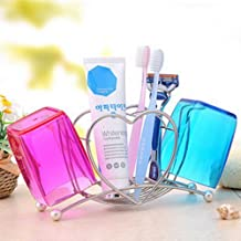 Heart-shaped stainless steel toothbrush holder + brushing Cup, Couples Cups son, toilet toothpaste Frame Set