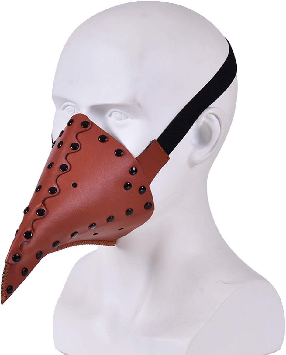 Dreamworldeu Pestmaske Schnabelmaske PU Leder Lange Nase Vogel Steampunk Pestdoktor Maske Halloween Kost/üm Dekoration f/ür Erwachsene