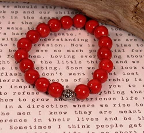 Gehna Coral Rojo Natural 10 mm Forma Redonda Pulsera elástica de 7 Pulgadas con Cuentas Lisas para Hombres/Mujeres con Cuentas de Metal Plateadas.