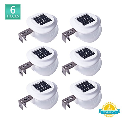 LED Solar Light Wall Light Outdoor Garden Solar Gutter Light Wireless Auto On Off Fence Light Waterproof Security Lights for Landscape Garden Yard Lawn Deck Stairs Corridor, Cool White 6 Pack