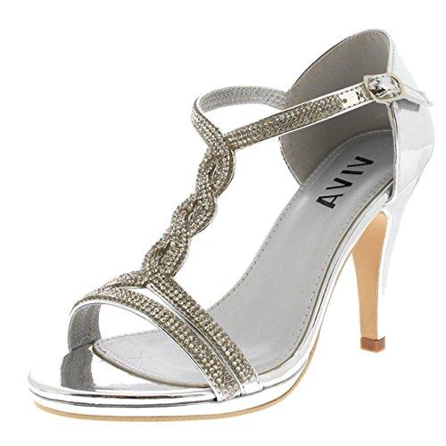 Womens Diamante T-Bar Mid Heel Wedding Party Metallic Sandals Shoes - Silver KL0312B 8US/39 -