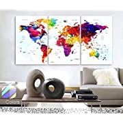 Original by BoxColors Large 30 x 60  3 Panels 30x20 Ea Art Canvas Print Watercolor Map World Push Pin Travel cities Wall colorfull decor Home interior (framed 1.5  depth)