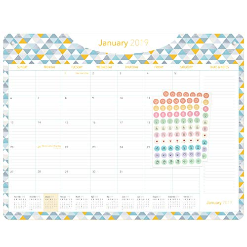 Giant 2019-2020 Desk or Wall Calendar - 100% Recycled Materials Monthly Planner - Geometric Business or Academic 18-Month Desk Calendar Pad for Family, Office, or Teacher by dapineapple, 22