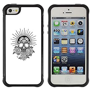 "Pulsar iFace Series Tpu silicona Carcasa Funda Case para Apple iPhone SE / iPhone 5 / iPhone 5S , Blanco Negro Sun cráneo Flores Rose"""