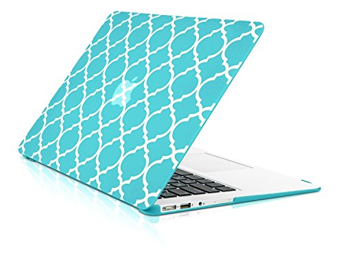 - TopCase Quatrefoil/Moroccan Trellis Hot Blue/Turquoise Ultra Slim Light Weight Rubberized Hard Case Cover for MacBook Air 13