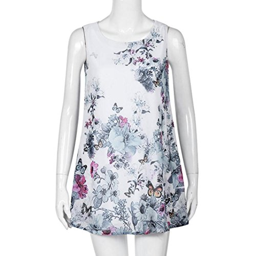 courte Beach Summer robe imprim Sexy Mini Blanc LUCKYCAT Blanc Boho Femmes manches sans Vintage HPvfwX