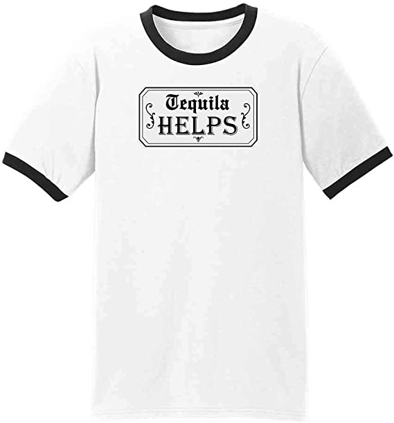 Tequila Helps Cinco de Mayo Funny Drinking Graphic Tee Ringer T-Shirt