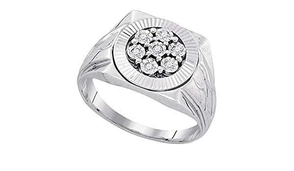 Sterling Silver Mens Round Diamond Flower Cluster Illusion-set Ring 0.09 Cttw