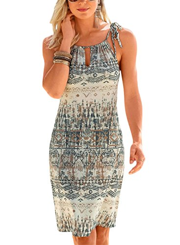FIYOTE Women Sleeveless Halter Neck Geometric Print Beach Coverups Mini Short Sundress Large Size Multicoloured 1