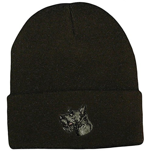 - Cherrybrook Dog Breed Embroidered Ultra Club Classic Knit Beanies - Black - Scottish Terrier