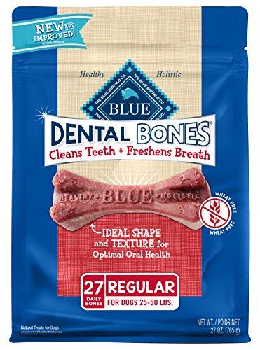 (Blue Buffalo Dental Bones Natural Adult Dental Chew Dog Treat, Regular 27-oz bag Value Pack)