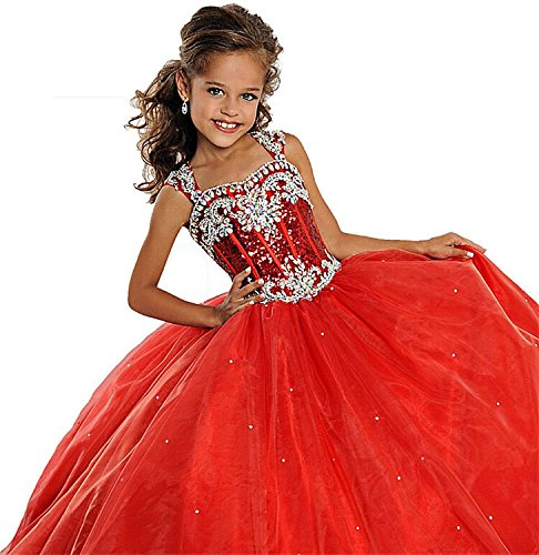 Fancy Dress Express Delivery (Leho Flower Girls' Sequins Ball Gowns Beaded Long Pageant Dresses 6 US Red)