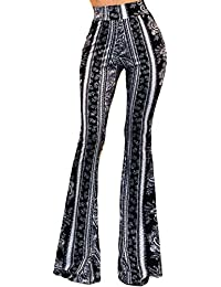 Women's Boho Solid Hippie Wide Leg Flared Bell Bottom Pants