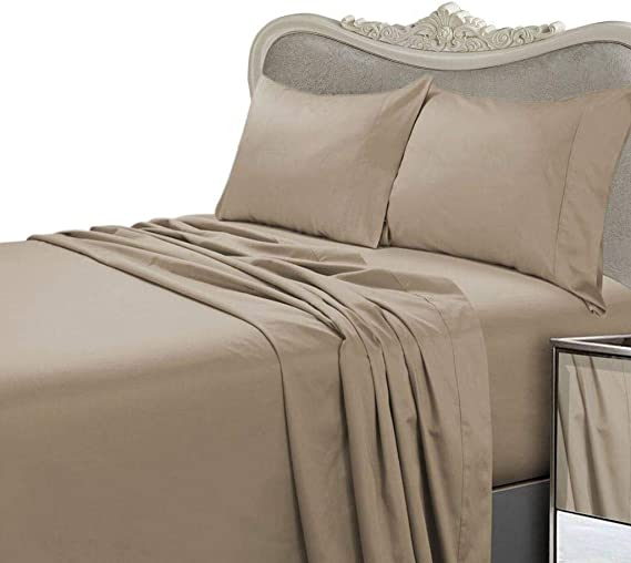 Luxurious 300 Thread Count Olympic Queen Sheet Set 300tc Egyptian Cotton Not Microfiber Polyester Sheet Set 300 Tc Taupe Solid Home Kitchen