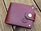 Men's Oxblood Leather Snap Bifold Wallet Can Be Personalized