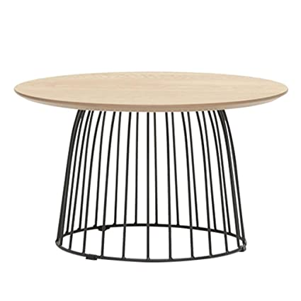 Amazing Iron Line Round Coffee Table Solid Wood Desktop Home Living Room Minimalist Style  Furniture (Size