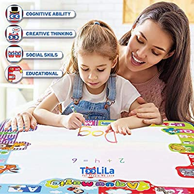 Aqua Magic Doodle Mat Large Size Color Mat For Toddlers Magic Doodle Mat + Snakes & Ladders Board Game Gift Allow Your Children To Unleash Their Imagination And Creativity Toddler Drawing Mat Age 3 +: Toys & Games