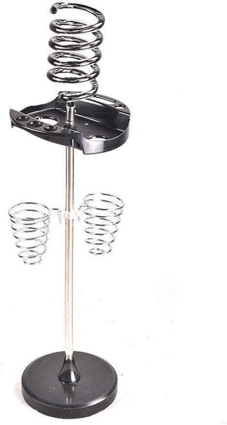 JKL Soportes para secadores de Pelo Soporte de secador de Pelo en Espiral de pie Libre Organizador de acrílico + Acero Inoxidable Barbershop Blow Dryer Rack Herramienta para peinar el Cabello Base de