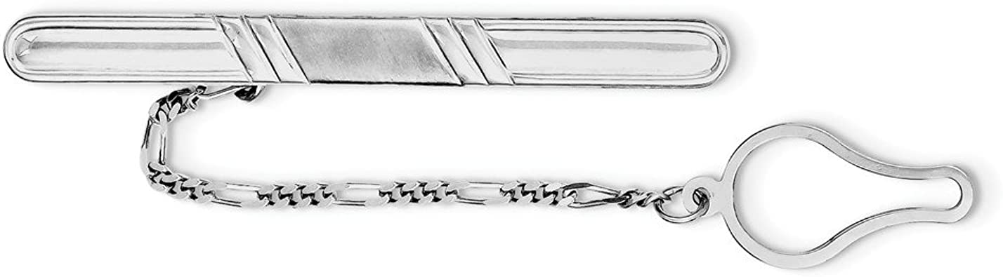 Sterling Silver Rhodium Plated Brushed /& Polished Money Clip