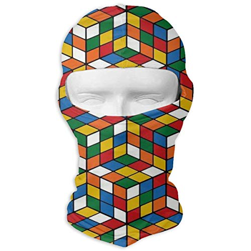 Wind-Resistant Balaclava, Rubix Cube Pattern Cold Weather Face Mask for Bike Hiking White ()
