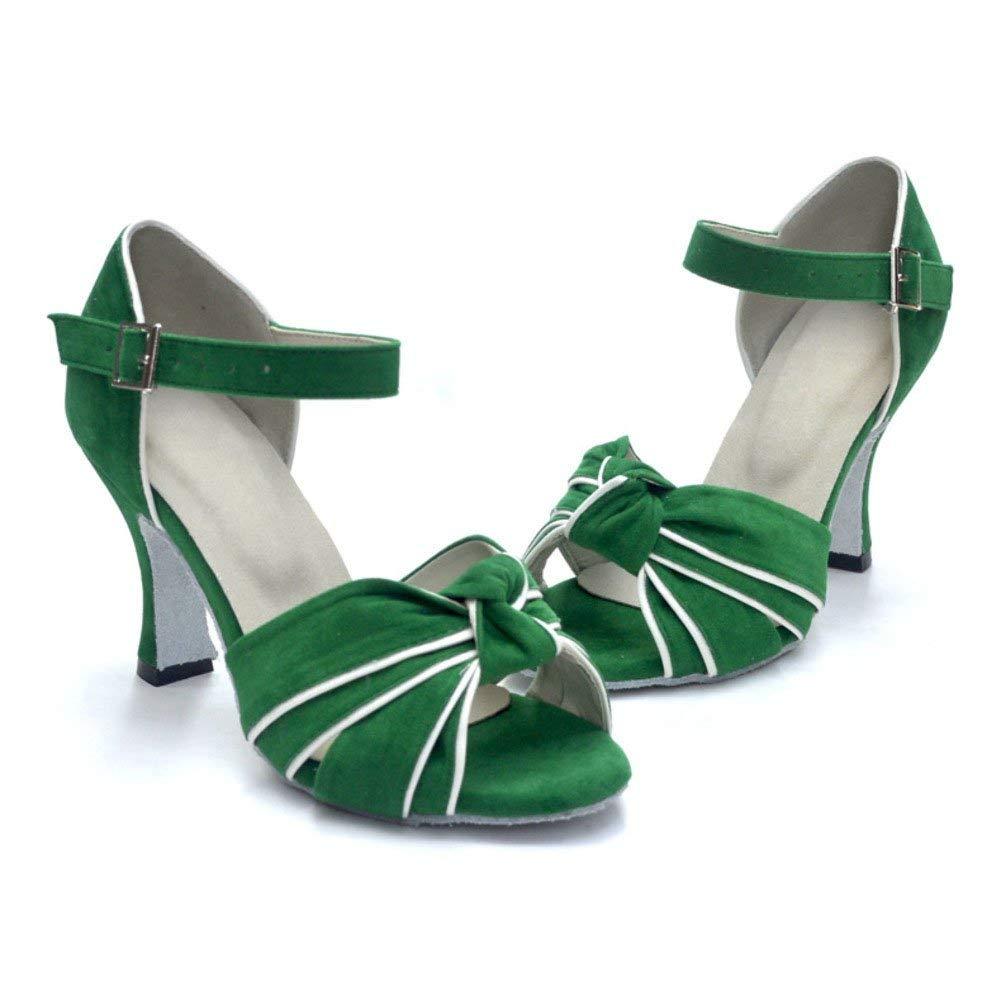 ZHRUI Latin Dance Schuhe für Damen, Modern Dance Schuhe Tanzschuhe High Heel Sandal (Farbe   Grün, Größe   Foot Length=25.3CM10Inch)
