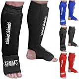 Combat Sports Washable Shin Guards Washable MMA Elastic Cloth Shin & Instep Padded Guards, Black, Large