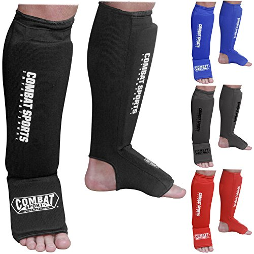 Combat Sports Washable Shin Guards Washable MMA Elastic Cloth Shin & Instep Padded Guards, Black, Medium