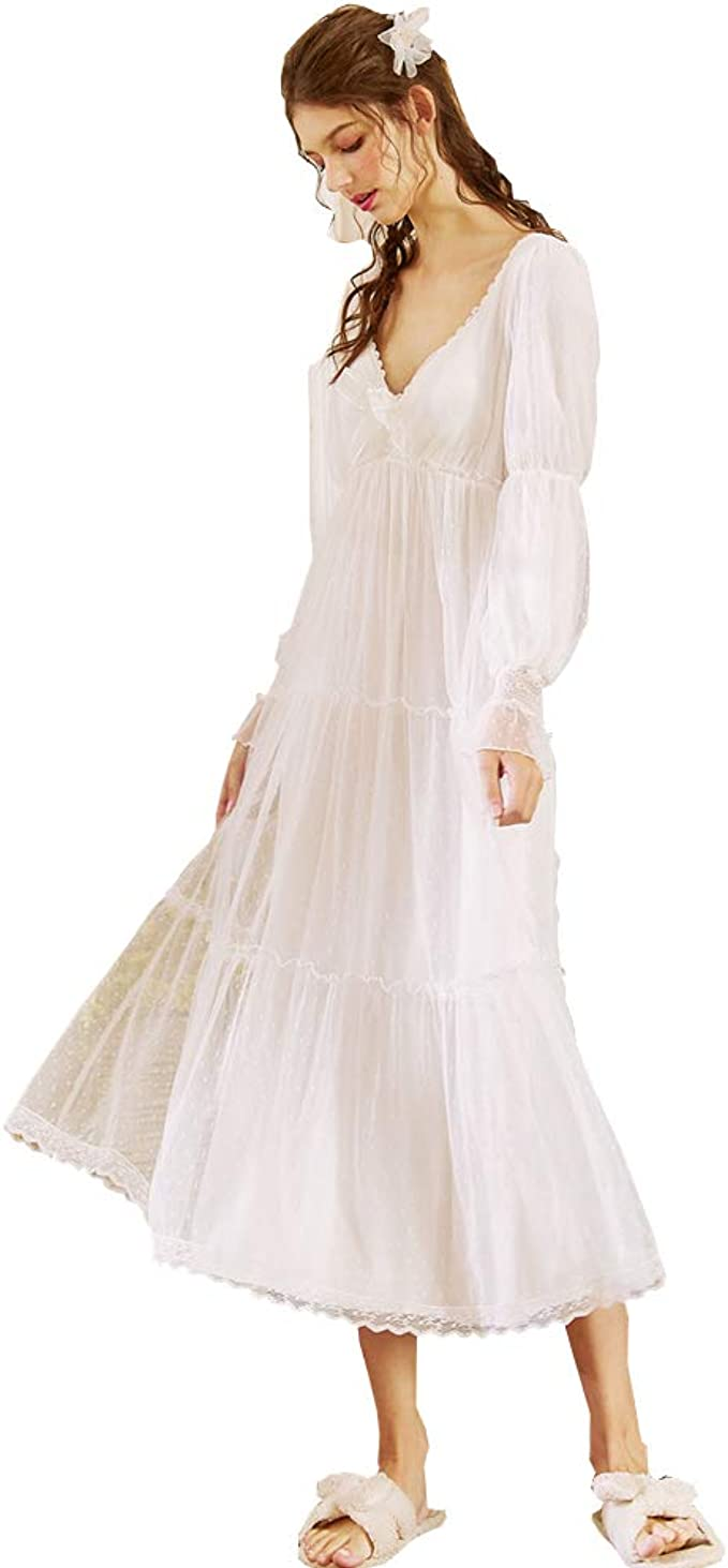 Vintage Nightgowns, Pajamas, Baby Dolls, Robes Womens Long Sheer Vintage Victorian Lace Nightgown Sleepwear Pyjamas V Neck Lounge Dress Nightwear £29.80 AT vintagedancer.com