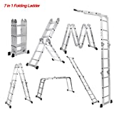 iKayaa 14.6FT Folding Step Ladder Aluminum 7 in 1 Multi Purpose Extension Ladder EN131 330LBS Light Weight
