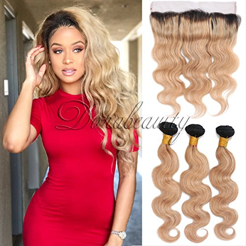 DoraBeauty Ombre Honey Blonde Bundles with Frontal Closure Pre Plucked 13×4 Lace Dark Roots #1B/27 Peruvian Human Hair Body Wave 10