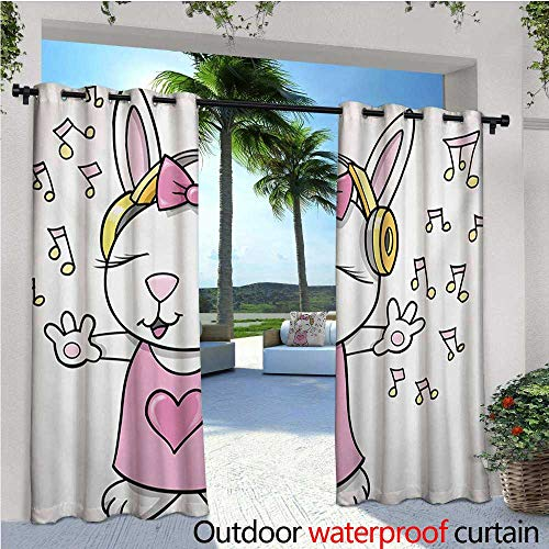 homehot Kids Patio Curtains Cute Rock Star Rabbit Bunny with