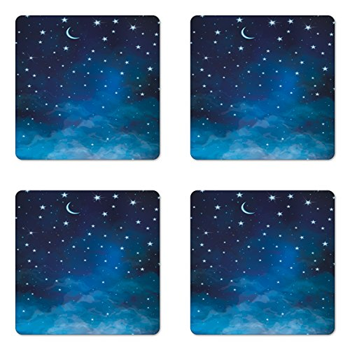 Blue Moon Garden Furniture (Sky Coaster Set of Four by Ambesonne, Abstract Night Time Illustration Stars and Crescent Moon Constellation Astrology, Square Hardboard Gloss Coasters for Drinks, Blue Dark Blue)