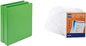 Samsill Earth's Choice Biobased Durable Fashion Color 3 Ring View Binder with 150 Pack Sheet Protectors, 1 Inch Round Ring, USDA Certified Biobased, Lime Green, Value Pack