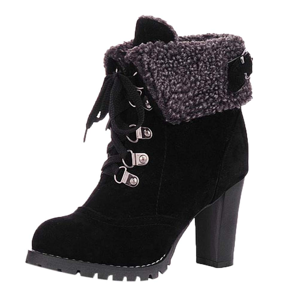 Women Lace-Up High Thick Short Boots Shoes Leisure Ankle Boots High-Heel Boots   (US:5.5, Black)
