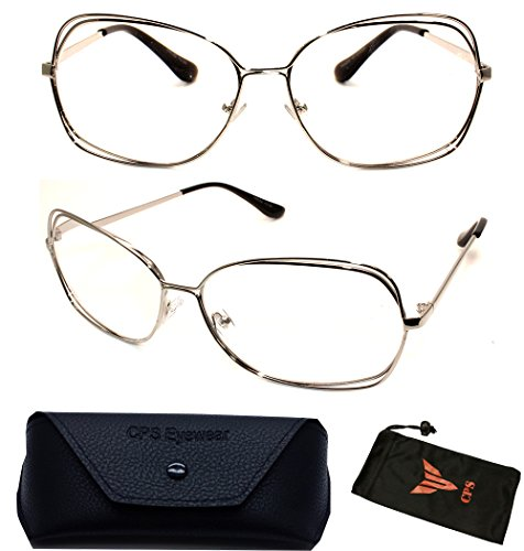 (#VRC02-Slv) Vintage Classic Oversized Large Metal Gold Silver Women Fashion Designer Reading Glasses + Hard Case (Strength: - Glasses Prescription Frames Discount