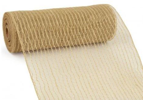 10 Inch x 30 Feet Deco Poly Jute Mesh Ribbon (Natural Brown) : XB93210-15