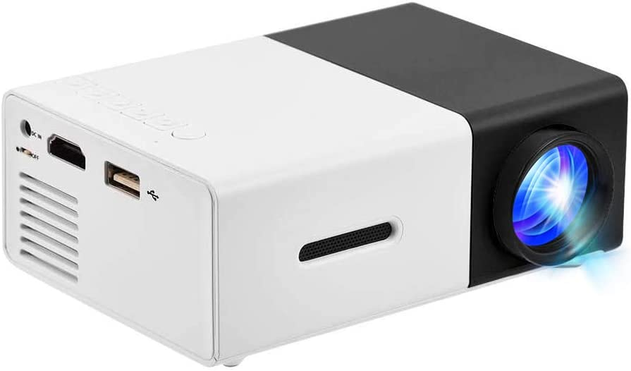 Mini Projector 1080P HD LED Multimedia Home Theater Projector HDMI, AV, USB Support for PS4 Laptop ipad iPhone Smartphone Game TV (Black-White)