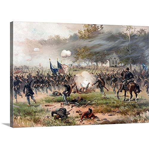 John Parrot Solid-Faced Canvas Print Wall Art Print Entitled Civil War Painting of Union and Confederate Troops Fighting at The Battle of Antietam 24