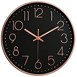 """12"""" Universal Silent Wall Clock Non-Ticking Mute Easy to Read Fashion Quartz Plastic Frame Glass Cover Battery Operated For Home Office School (Black & Rose Gold)"""