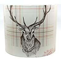 """Stag Lampshade or Ceiling Light Shade 10"""" DRUM Richmond Cranberry Antlers Rustic Woodland Deer Hare Tartan Highland Scottish Themed Bedroom Room Decor Accessories Gifts"""
